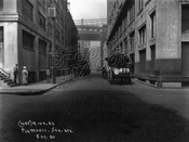 Plymouth Street west from Jay Street, showing both bridges, 1930