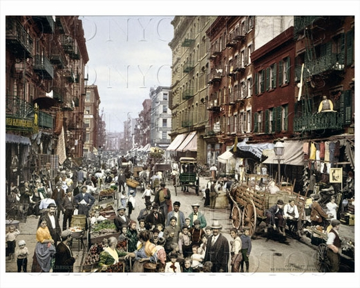 Mulberry St Lower East Side NYC color 1904
