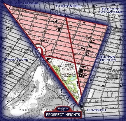 Prospect Heights neighborhood borders map