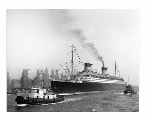 S.S. Liberte with Manhattan in the background