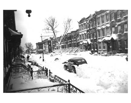 Schaeffer St in Blizzard - Bushwick Brooklyn NY