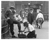 Shoe shiners & IRT entrance at Union Square Park , NY  1922