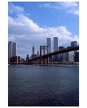 Skyline of Manhattan with the Brooklyn Bridge & The Twin Towers behind