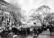 Spanish-American War parade on Hanson Place, looking east from South Portland Avenue, 1898