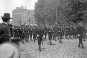 Spanish-American War parade, Underhill Avenue, looking north from Park Place, c.1899