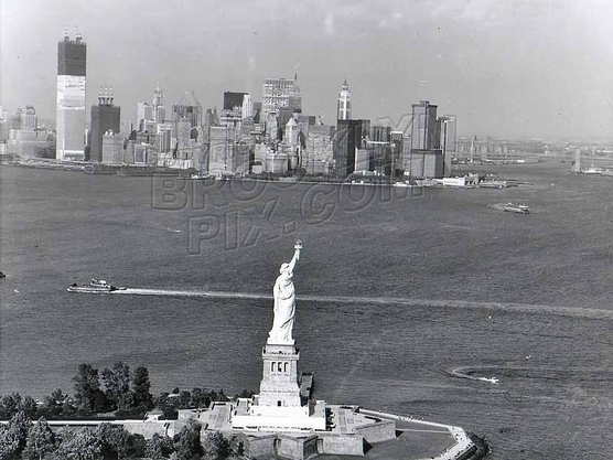 Statue of Liberty and WTC under construction, c.1971