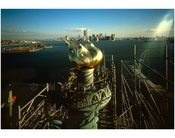 Statue of Liberty - new Torch & Flame with Manhattan Skyline in background