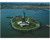 Statue of Liberty - overall view of Liberty Island looking Northwest with Jersey City in the background