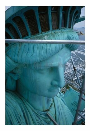 Statue of Liberty - upclose view of the face and crown looking northeast