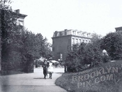 Strollers entering Fort Greene Park from deKalb Avenue entrance at Cumberland Street, 1886