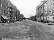 Temporary pavement on Pitkin Avenue between Crescent and Hemlock Streets, 1942