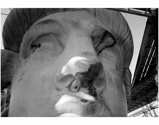 The Statue of Liberty - detail showing face and eye repair November 18th, 1985