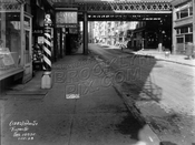 Third Avenue el on Pearl Street crossing Fulton Street, 1928