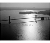 Throgs Neck Bridge - spans from east river from Queens to the Bronx - Aerial view looking east, with Long Island