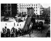 Broadway foot bridge Lower Manhattan 1905