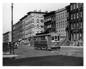 Trolley car crossing  86th Street & York Avenue - Upper East Side  1934 Manahattan NYC