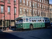 Trolley coach at terminal, Box Street and Manhattan Avenue, 1960