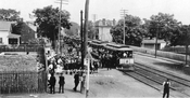 Trolley disturbance on Gravesend (McDonald) Avenue near Neck Road looking north, August 12, 1906