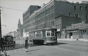 Trolley passing Ex-Lax building on Atlantic Avenue, 1949