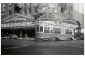 Trolley passing in front of the Brooklyn Paramount Theater