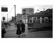 Trolley passing & people walking along 8th Avenue  - Bay Ridge circa 1940s Brooklyn NY