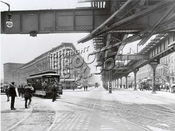 Trolley turning from Atlantic Avenue onto Flatbush Avenue, 1914