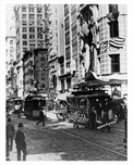 Trolleys passing Broadway Midtown Manhattan 1914 NYC