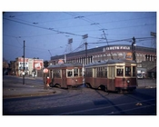 Trolleys passing by Ebbets Field 1950s Flatbush Brooklyn NY