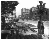 Union Square Park - underconstruction - street view - downtown NYC 1906