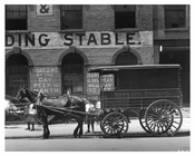 Upclose shot of Horse & Wagon outside of the 7th Avenue Sale Exchange & Boarding Stable  - Midtown Manhattan - 1914
