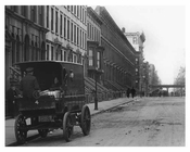 Upclose view of Wagon on 8th Avenue  & 46th Street  - Midtown Manhattan - 1915