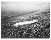 US Navy Blimp over Upper Manhattan with George Washington bridge