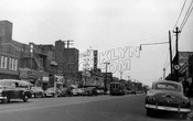 Utica Avenue looking south to Church Avenue showing Rugby Theater, 1951