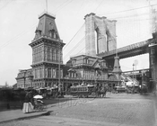 View at Fulton Ferry showing Brooklyn Bridge, c.1884