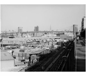 View looking north from Robert Moses Promenade with the Brooklyn Bridge in the background 1982