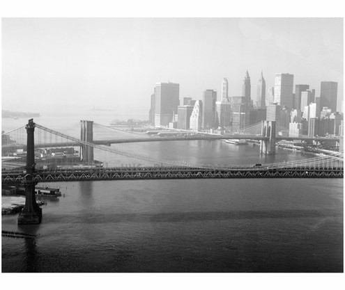 View looking southwest with Manhattan Bridge in the foreground & the Brooklyn Bridge in the background 1982