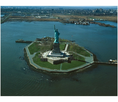 View of Liberty Island - looking northwest with Jersey City in the background