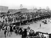 View of the Boardwalk and Beach from Steeplechase Pier, 1923