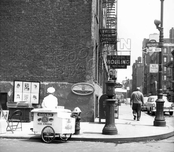 West 3rd Street, east from Sullivan Street, Greenwich Village, late 1950s, during the annual art show