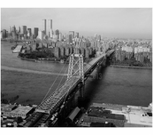 Williamsburg Bridge - roadway and Manhattan Skyline