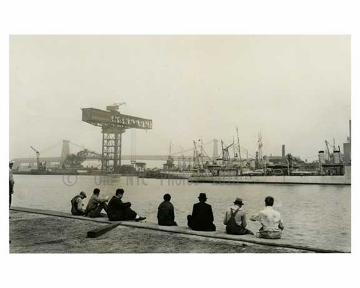 Workers at the Navy Yard eating lunch - Brooklyn NY 1940
