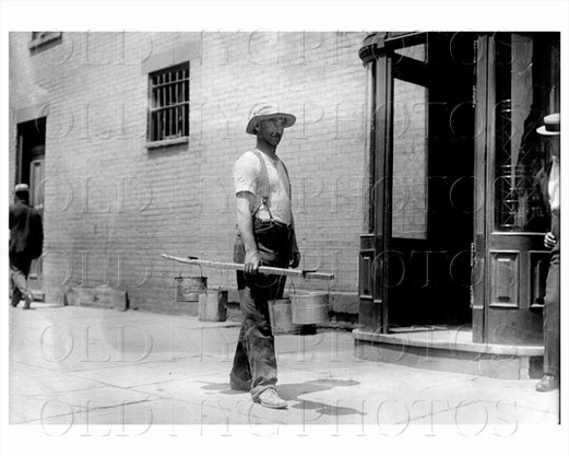 Working Man with Beer at side door Old Time Saloon Manhattan NYC 1908