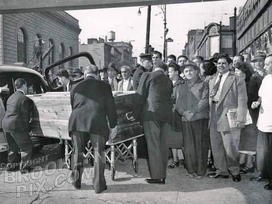Would-be assassin of President Truman, Griselio Torresola, at funeral home at Court Street and Atlantic, 1950
