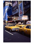 Yellow Taxis roll through the Theater District 1970s Manhattan
