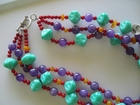 3-Strand Mix :: Semi-Precious Butterscotch Amber and Amethyst with Red and Turquoise Glass