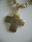 Mother of Pearl Cross on Beige Abalone