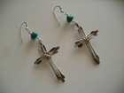 Handmade Sterling Silver Crosses with Turquoise Nuggets