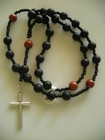 Matte Black Onyx and Red Jasper 8mm (Anglican)