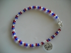 Red White and Blue Sparkle 4mm - 7 1/4 inches (A)