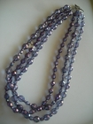 Triple Strand :: Firepolished Amethyst Glass